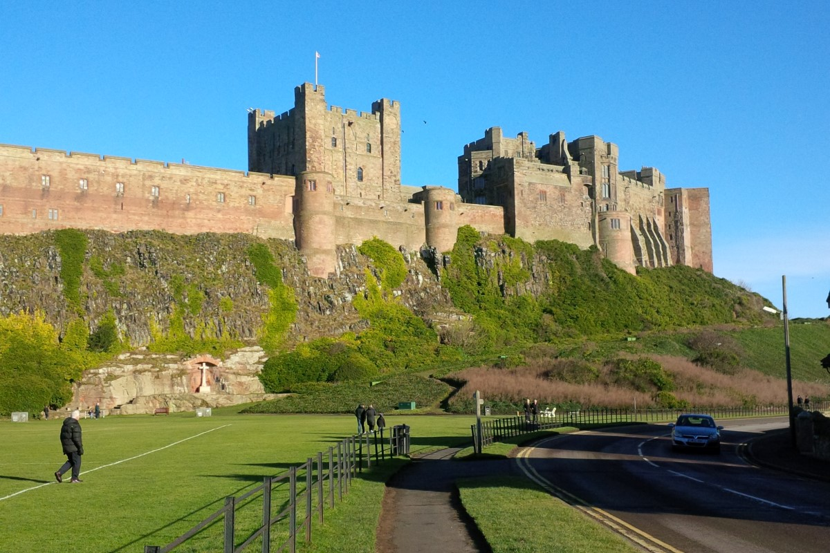 View of Bamburgh Castle from the Road
